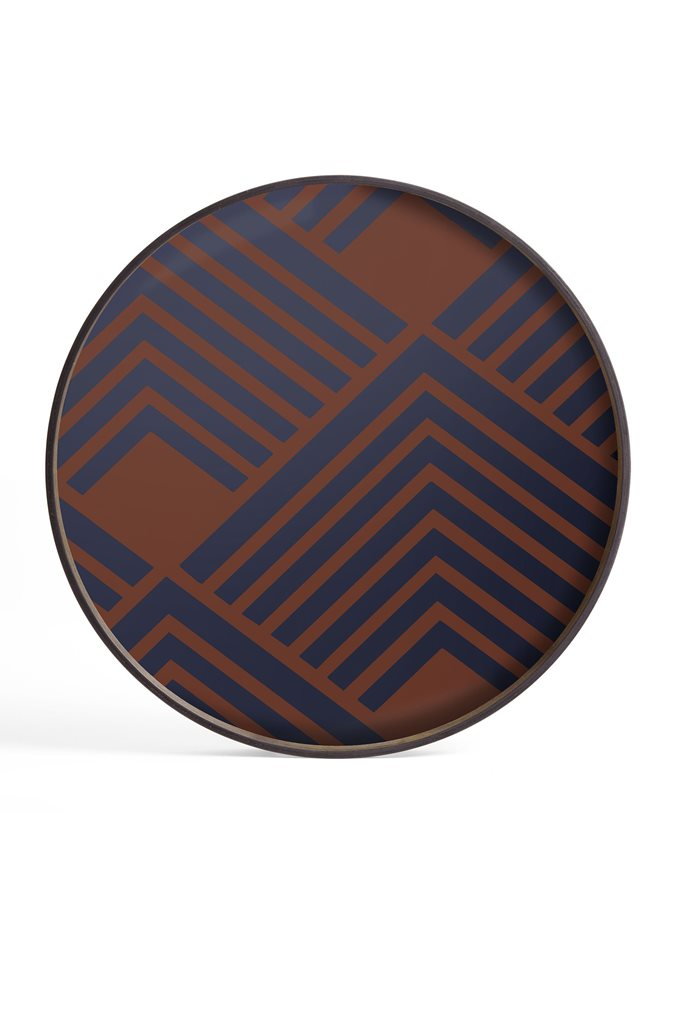 Vassoi arredo Midnight Chevron in vetro 20934 Ethnicraft